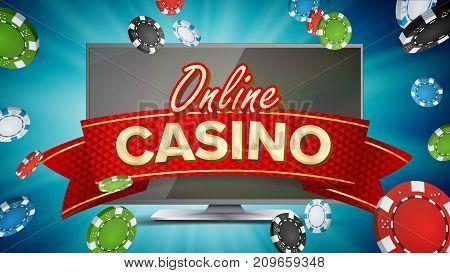 Online Casino Banner Vector. Realistic Computer Monitor. Winner Lucky Symbol. Jackpot Casino Billboard, Signage, Marketing Luxury Poster Illustration.