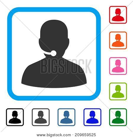 Call Center icon. Flat grey iconic symbol in a light blue rounded squared frame. Black, gray, green, blue, red, orange color additional versions of Call Center vector. Designed for web and app UI.