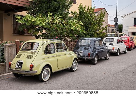 GODO (RUSSI) RAVENNA, ITALY - OCTOBER 1: vintage Italian cars Fiat 500 parked during the classic car rally