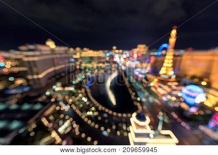 Las Vegas Strip at night blurred background.