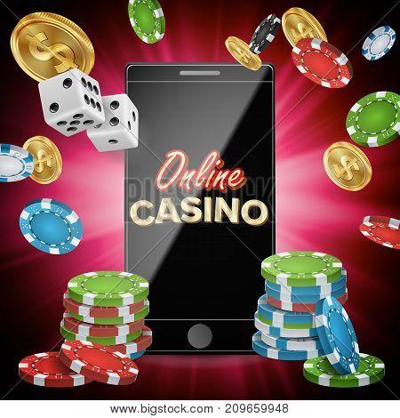 Online Casino Poster Vector. Modern Mobile Smart Phone Concept. Jackpot Casino Billboard, Signage, Marketing Luxury Banner, Poster Illustration.