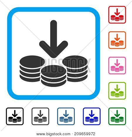Income Coins icon. Flat grey iconic symbol inside a light blue rounded frame. Black, gray, green, blue, red, orange color additional versions of Income Coins vector.