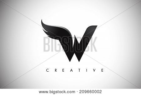 W Letter Wings Logo Design With Black Bird Fly Wing Icon.