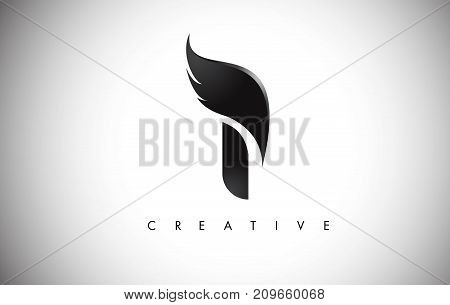 I Letter Wings Logo Design With Black Bird Fly Wing Icon.