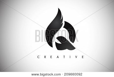Q Letter Wings Logo Design With Black Bird Fly Wing Icon.