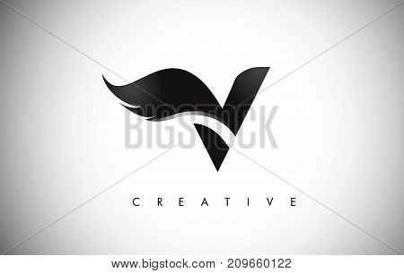 V Letter Wings Logo Design With Black Bird Fly Wing Icon.