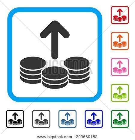Payout Coins icon. Flat gray iconic symbol in a light blue rounded rectangle. Black, gray, green, blue, red, orange color variants of Payout Coins vector. Designed for web and application UI.