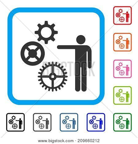 Project Mechanics icon. Flat gray pictogram symbol inside a light blue rounded squared frame. Black, gray, green, blue, red, orange color versions of Project Mechanics vector.