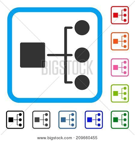 Structure Diagram icon. Flat grey iconic symbol in a light blue rounded rectangular frame. Black, gray, green, blue, red, orange color additional versions of Structure Diagram vector.