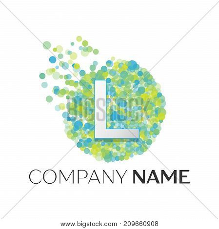Realistic Letter L logo with blue, yellow, green particles and bubble dots in circle on white background. Vector template for your design