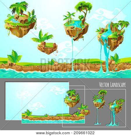 Isometric game tropical nature landscape template with islands palm trees plants stones waterfalls and river vector illustration