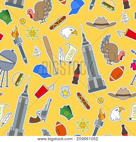 Seamless pattern on the theme of journey in the country of America simple patches icons on yellow background