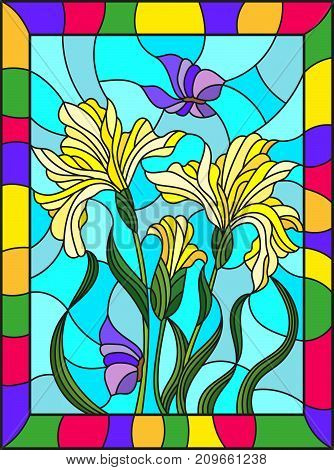 Illustration in stained glass style with a bouquet of yellow irises and butterflies on a blue background in a bright frame
