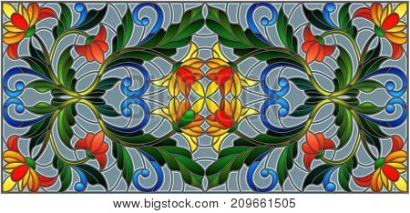 Illustration in stained glass style with abstract orange flowers on a grey background