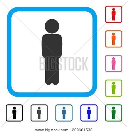 Child Standing Pose icon. Flat grey iconic symbol inside a light blue rounded rectangular frame. Black, gray, green, blue, red, orange color additional versions of Child Standing Pose vector.