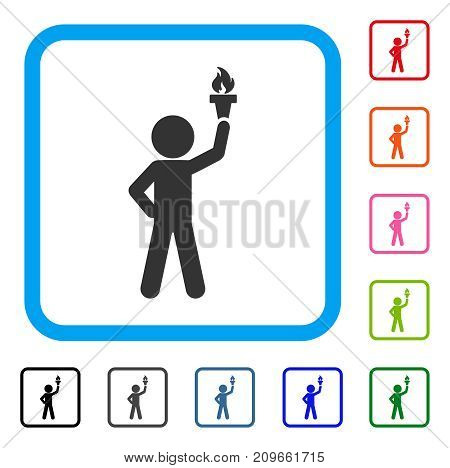 Child With Freedom Torch icon. Flat gray pictogram symbol in a light blue rounded square. Black, gray, green, blue, red, orange color additional versions of Child With Freedom Torch vector.