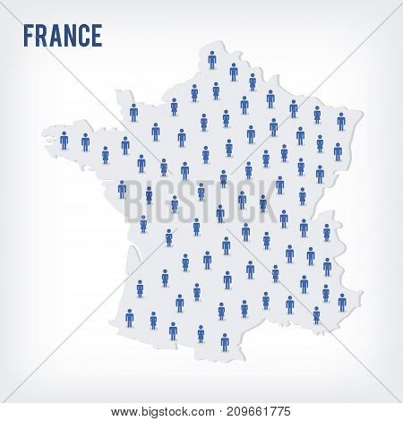 Vector People Map Of France. The Concept Of Population.