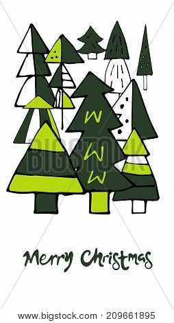 Card happy Christmas with Christmas trees and lettering. - Stock vector