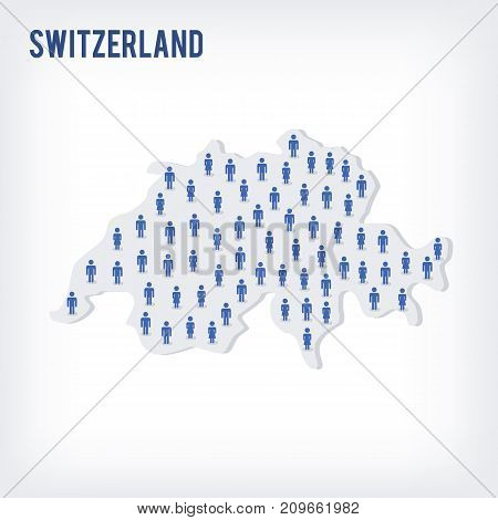 Vector People Map Of Switzerland . The Concept Of Population.