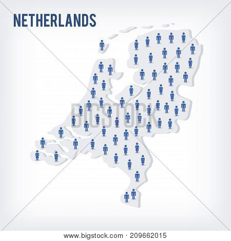 Vector People Map Of Netherlands . The Concept Of Population.