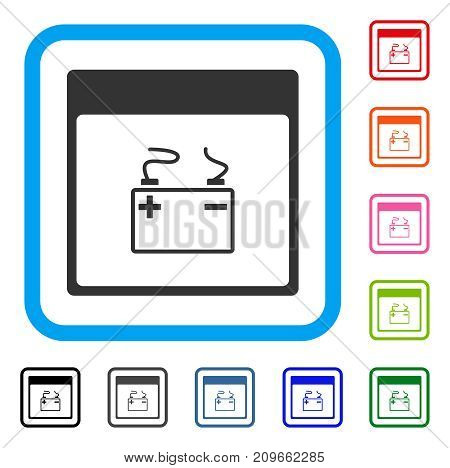 Accumulator Calendar Page icon. Flat grey pictogram symbol inside a light blue rounded squared frame. Black, gray, green, blue, red,
