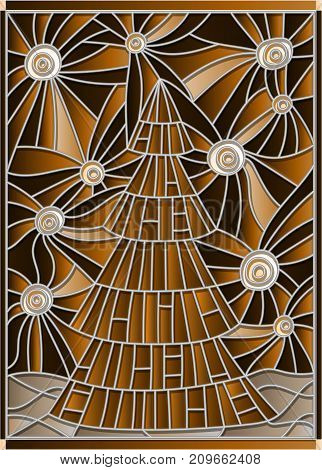 Illustration in stained glass style for the new year Christmas tree on a background of starry skytone brown sepia