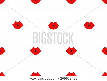 Seamless pattern of cartoon red lips on white background. Banner fashion makeup cosmetics. - Stock vector