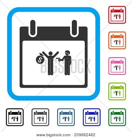 Arrest Calendar Day icon. Flat gray iconic symbol in a light blue rounded rectangle. Black, gray, green, blue, red, orange color variants of Arrest Calendar Day vector.
