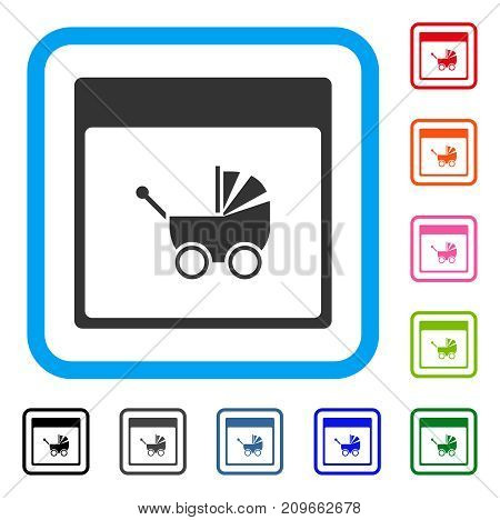 Baby Carriage Calendar Page icon. Flat gray pictogram symbol inside a light blue rounded square. Black, gray, green, blue, red, orange color variants of Baby Carriage Calendar Page vector.