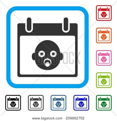 Baby Head Calendar Day icon. Flat gray pictogram symbol inside a light blue rounded square. Black, gray, green, blue, red, orange color versions of Baby Head Calendar Day vector.