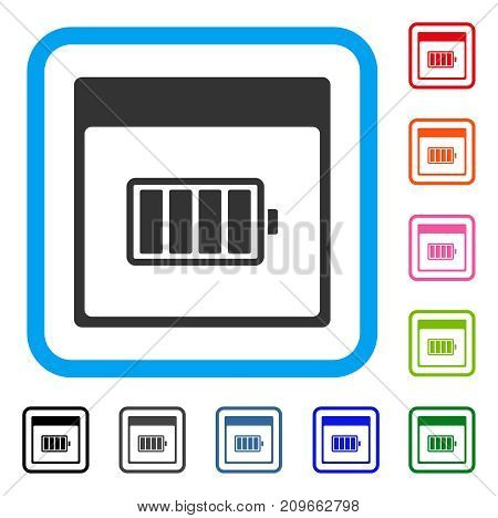 Battery Calendar Page icon. Flat gray pictogram symbol in a light blue rounded rectangular frame. Black, gray, green, blue, red, orange color additional versions of Battery Calendar Page vector.