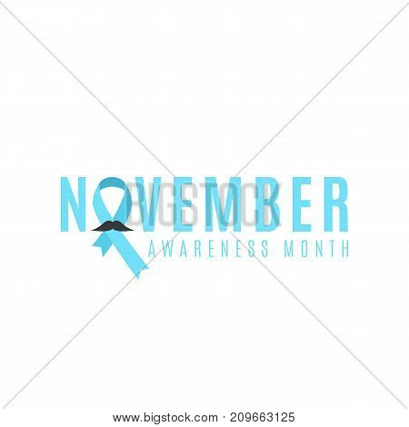 Prostate cancer ribbon awareness. Man's mustache. Fighting cancer. Blue ribbon. The month of November. Vector illustration