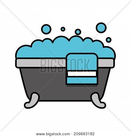 bathtub towel foam soap clean hygiene interior ceramic icon vector illustration