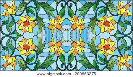 Illustration in stained glass style with abstract swirlsyellow flowers and leaves on a blue backgroundhorizontal orientation