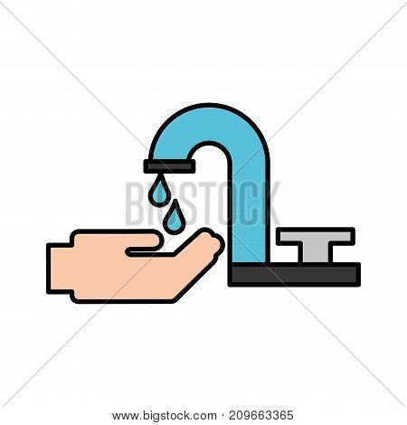 bathroom faucet hand drop water clean vector illustration