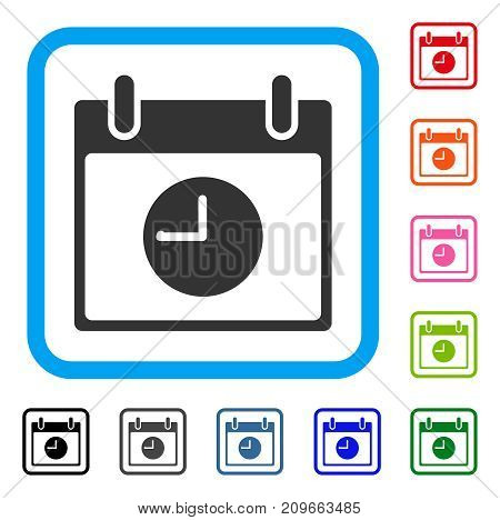Clock Calendar Day icon. Flat gray pictogram symbol in a light blue rounded frame. Black, gray, green, blue, red, orange color variants of Clock Calendar Day vector.