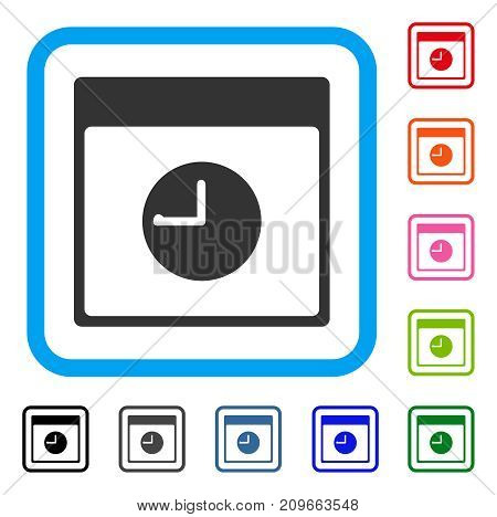 Clock Calendar Page icon. Flat grey iconic symbol in a light blue rounded squared frame. Black, gray, green, blue, red, orange color variants of Clock Calendar Page vector.