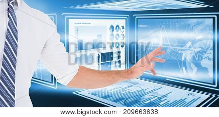 Businessman holding his hand out against digital image of business growth charts in 3d