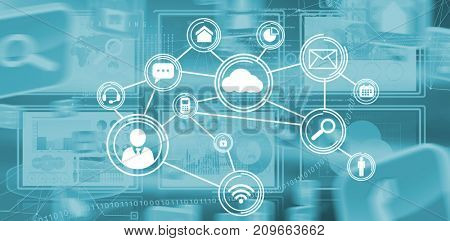 Digital image of business diagrams and map against technology interface