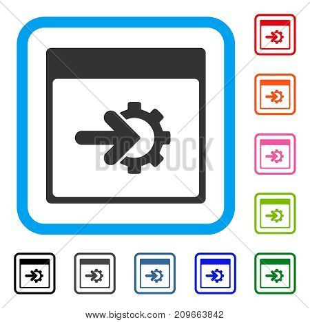 Cog Integration Calendar Page icon. Flat gray iconic symbol inside a light blue rounded square. Black, gray, green, blue, red, orange color additional versions of Cog Integration Calendar Page vector.
