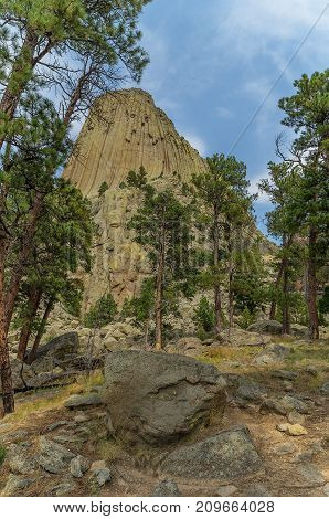 Devil's Tower in Eastern Wyoming. First National Monument in the USA