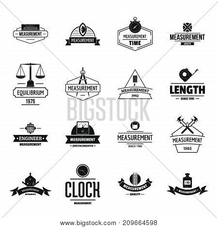 Measure precision logo icons set. Simple illustration of 16 measure precision logo vector icons for web