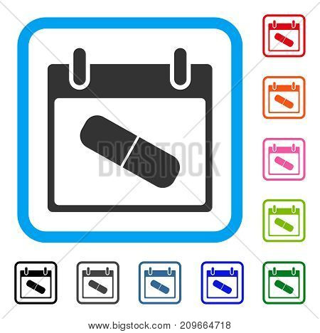 Drugs Pill Calendar Day icon. Flat gray iconic symbol inside a light blue rounded squared frame. Black, gray, green, blue, red, orange color variants of Drugs Pill Calendar Day vector.