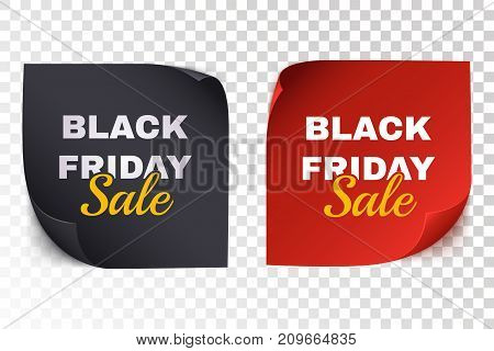 Black friday sale banners. Black and red paper sticker isolated on transparent background. Realistic square sticky note paper. Vector illustration.