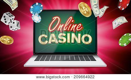 Online Casino Poster Vector. Modern Laptop Concept. Signage, Marketing Luxury Banner, Poster Illustration.