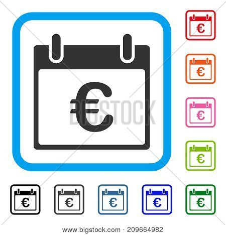 Euro Calendar Day icon. Flat gray iconic symbol inside a light blue rounded rectangle. Black, gray, green, blue, red, orange color versions of Euro Calendar Day vector.