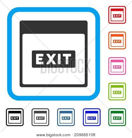 Exit Caption Calendar Page icon. Flat gray pictogram symbol inside a light blue rounded frame. Black, gray, green, blue, red, orange color additional versions of Exit Caption Calendar Page vector.