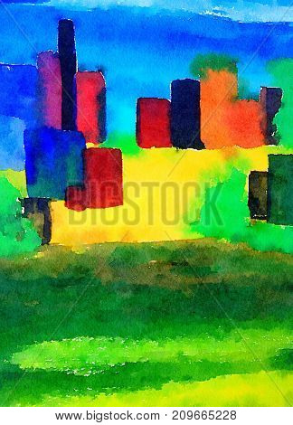 Nice Watercolor Image of a Abstract Futuristic City