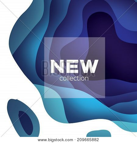 3D abstract background with paper cut shapes. .Layered tonnel wave background. Origami Shadows box. Vector design for business presentations, flyers, posters