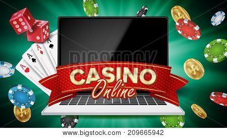 Online Casino Vector. Banner With Laptop. Poker Gambling Casino Poster Sign. Jackpot Billboard, Promo Concept Illustration.